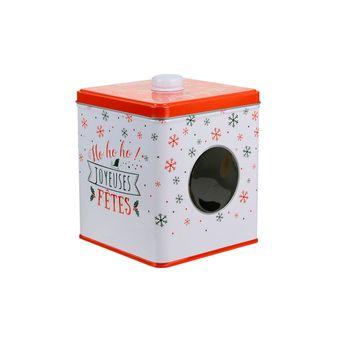 Achat en ligne Boite à biscuits carrée en métal avec hublot rouge et blanche 13.3 x 16 cm - The Home Deco Factory