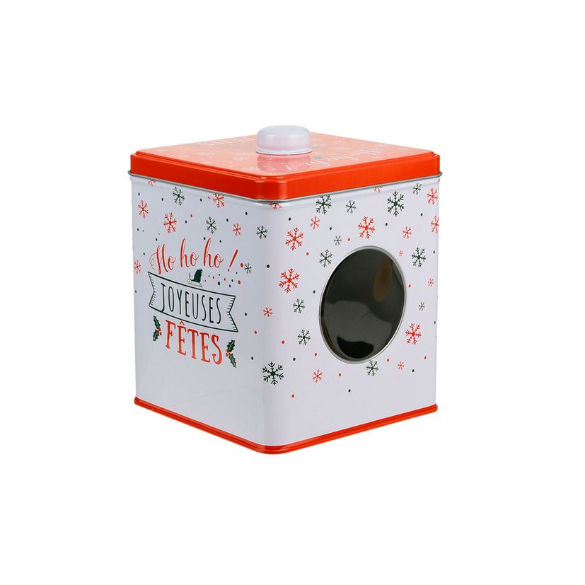 Boite à biscuits carrée en métal avec hublot rouge et blanche 13.3 x 16 cm - The Home Deco Factory