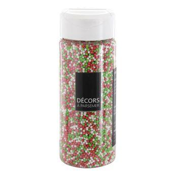Achat en ligne Décors à parsemer petites perles Noël vertes. rouges et blanches 110 gr