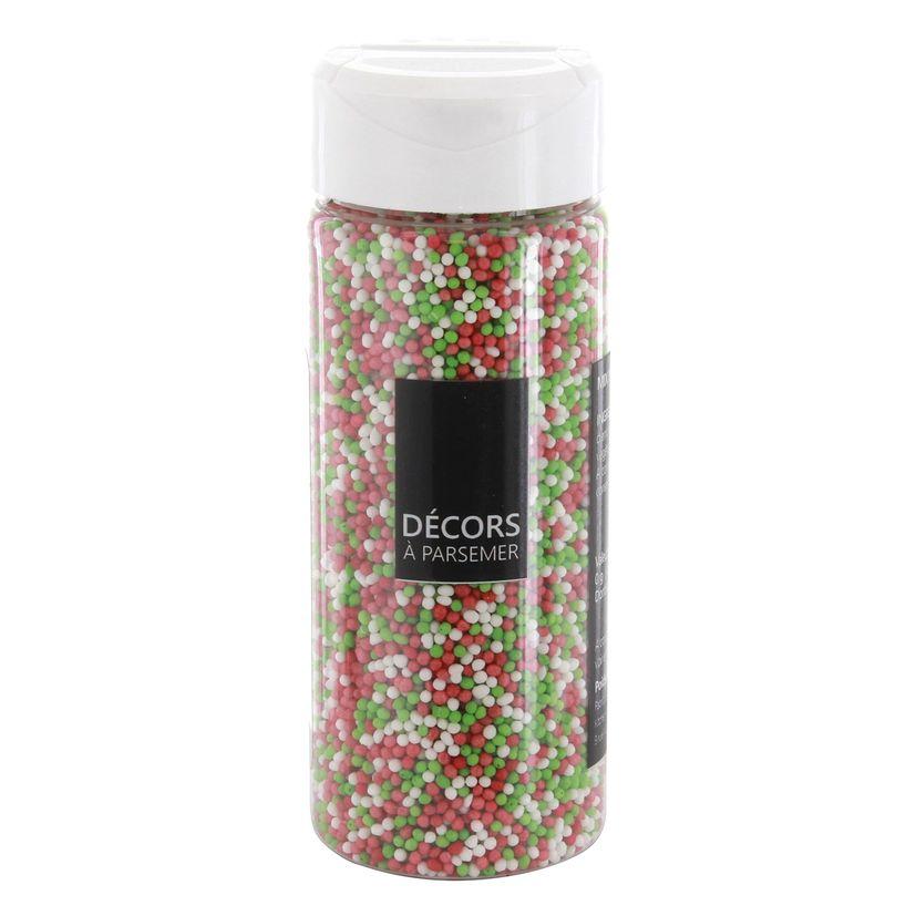 Décors à parsemer petites perles Noël vertes. rouges et blanches 110 gr
