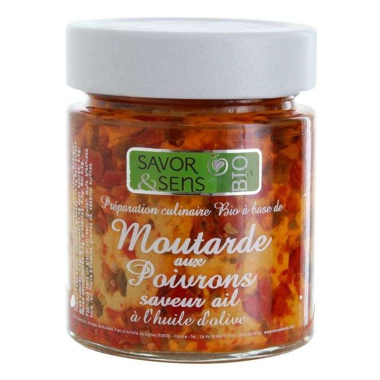 Moutarde bio poivrons pointe ail 130g - Savor et Sens