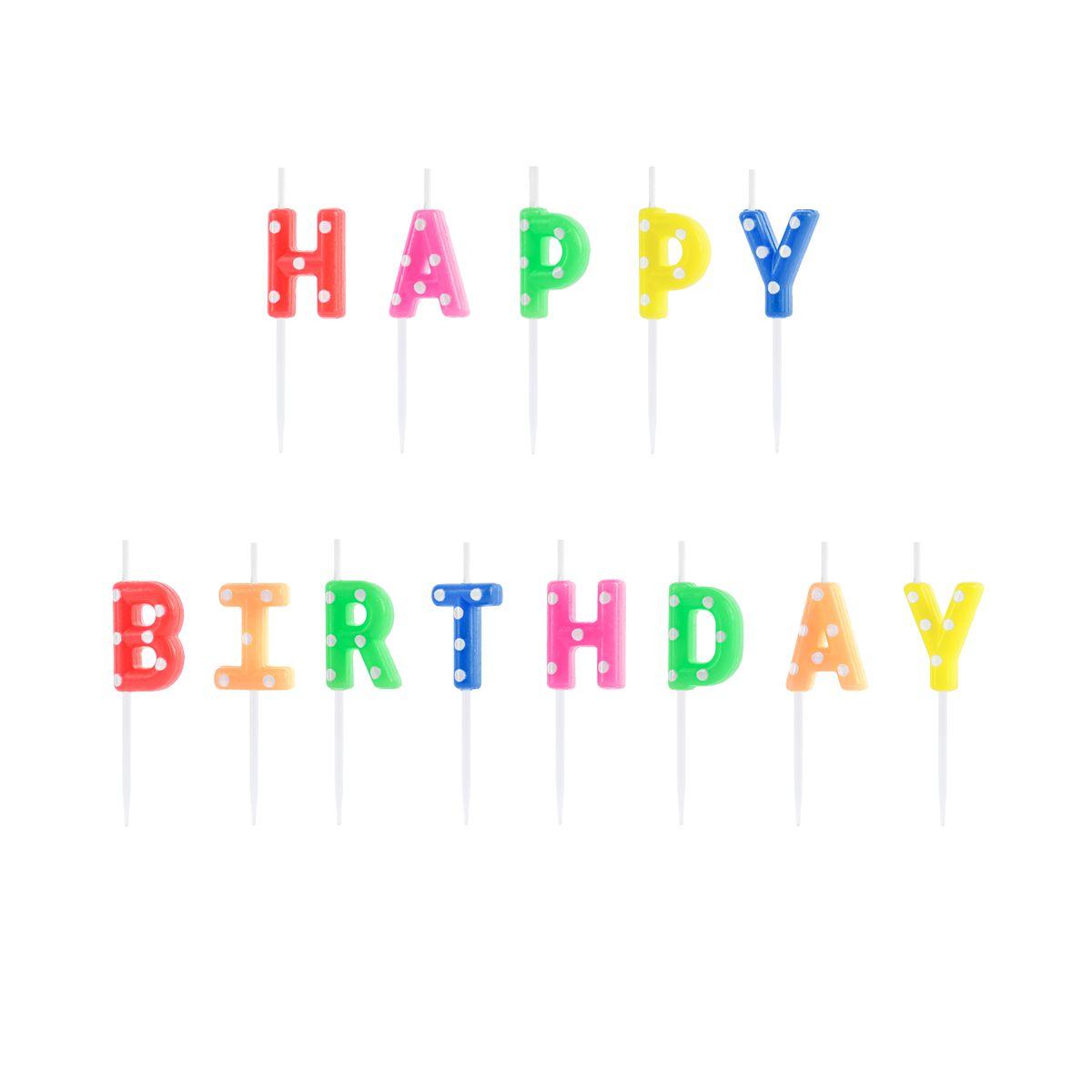 Bougies lettres Happy Birthday multicolores 2,5 cm - Party Deco