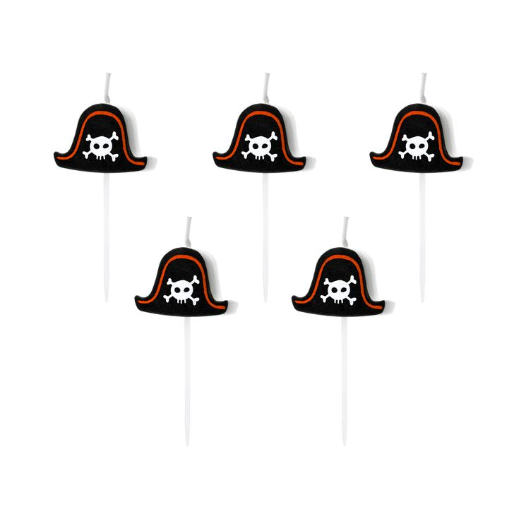 5 bougies pirates 2 cm - Party Deco