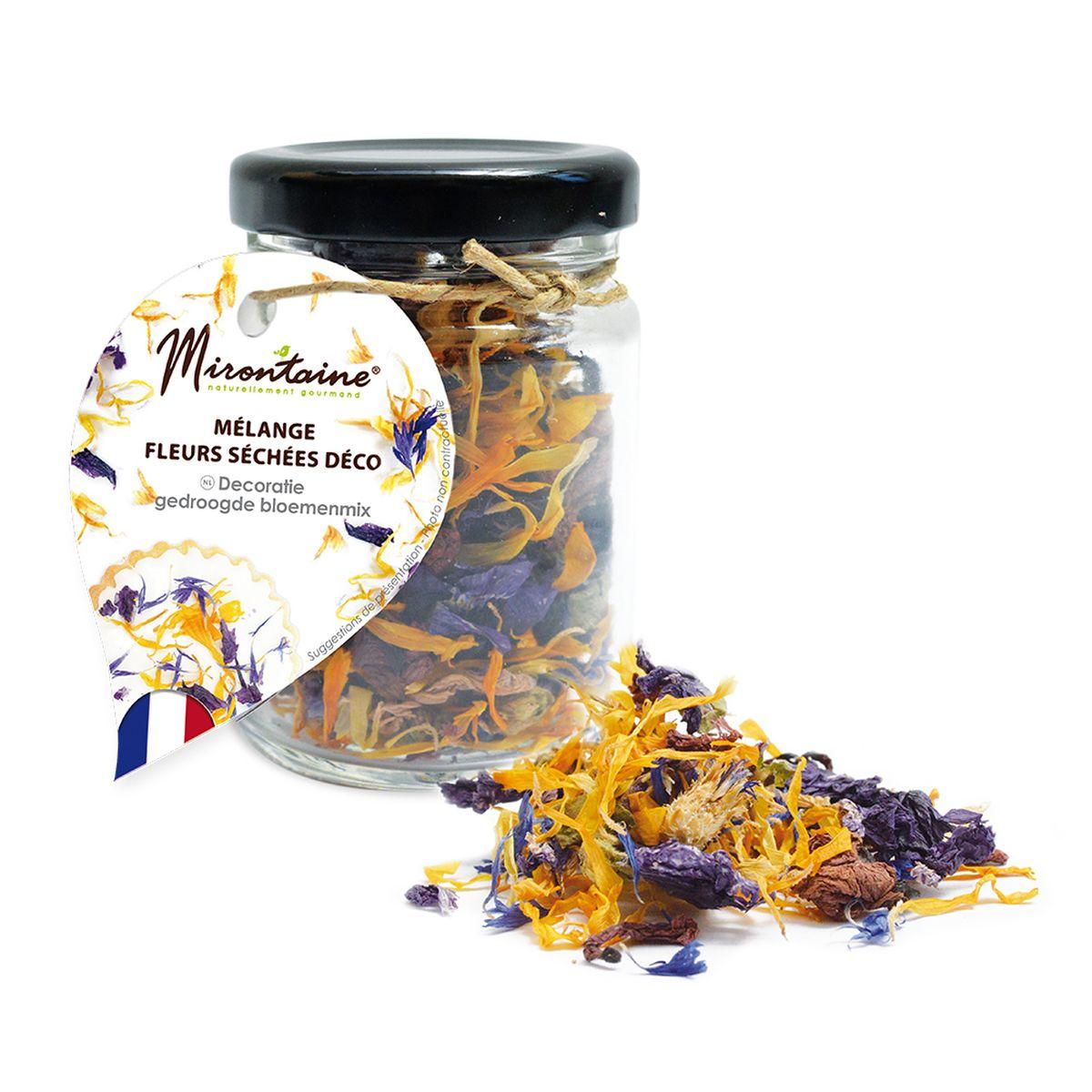 Pot de mélange de fleurs séchées comestibles pour décoration de gâteaux 3.5 gr - Mirontaine