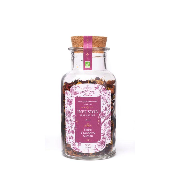 Infusion bio irresistible vrac fraise/cranberry/sureau 70gr - Provence d'Antan