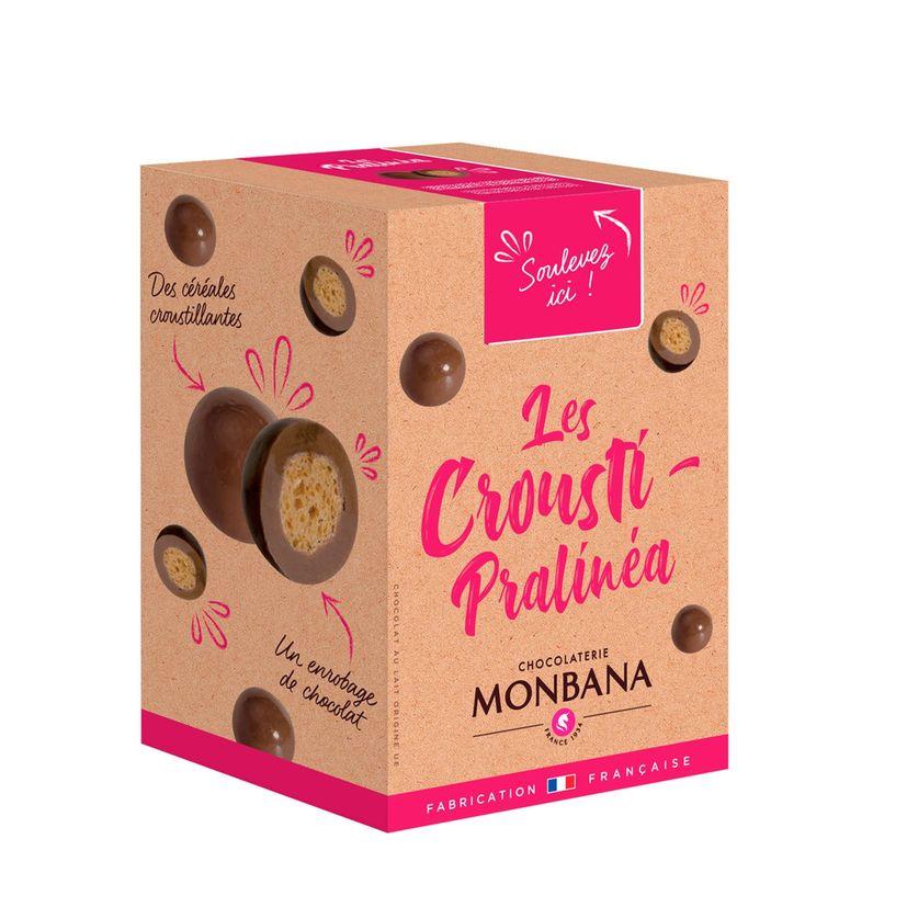 Croustilles de céréales enrobées de praliné et de chocolat au lait 135g - Monbana