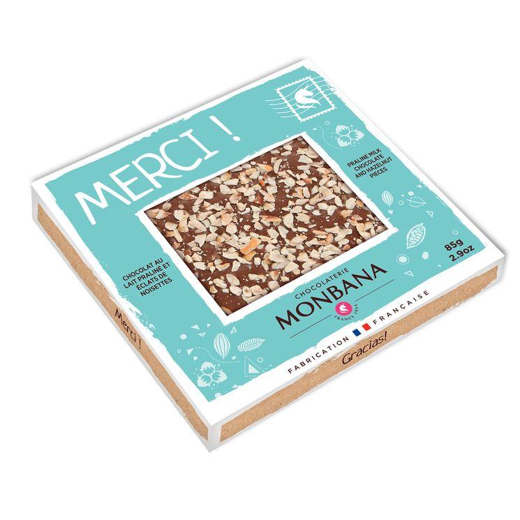Tablette de chocolat au lait au praliné et aux éclats de noisettes 85g - Monbana