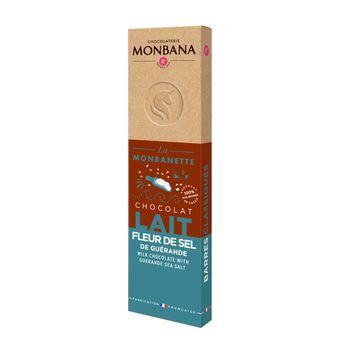 Achat en ligne Barre de chocolat au lait à la fleur de sel de Guérande 40g - Monbana