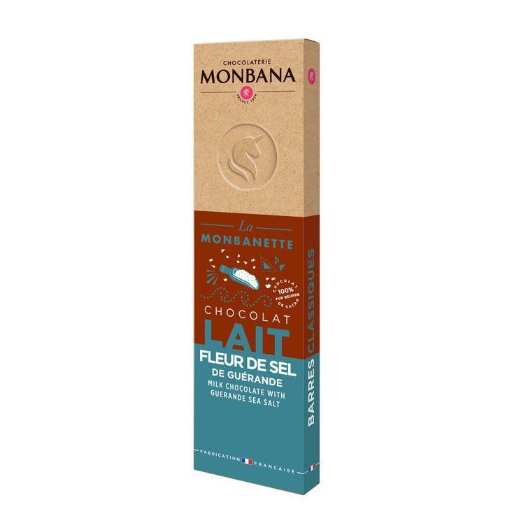 Barre de chocolat au lait à la fleur de sel de Guérande 40g - Monbana