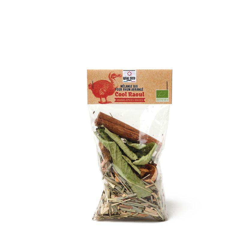 Mélange Bio pour rhum arrangé en sachet Cool Raoul ananas épices douces 15g - Quai Sud