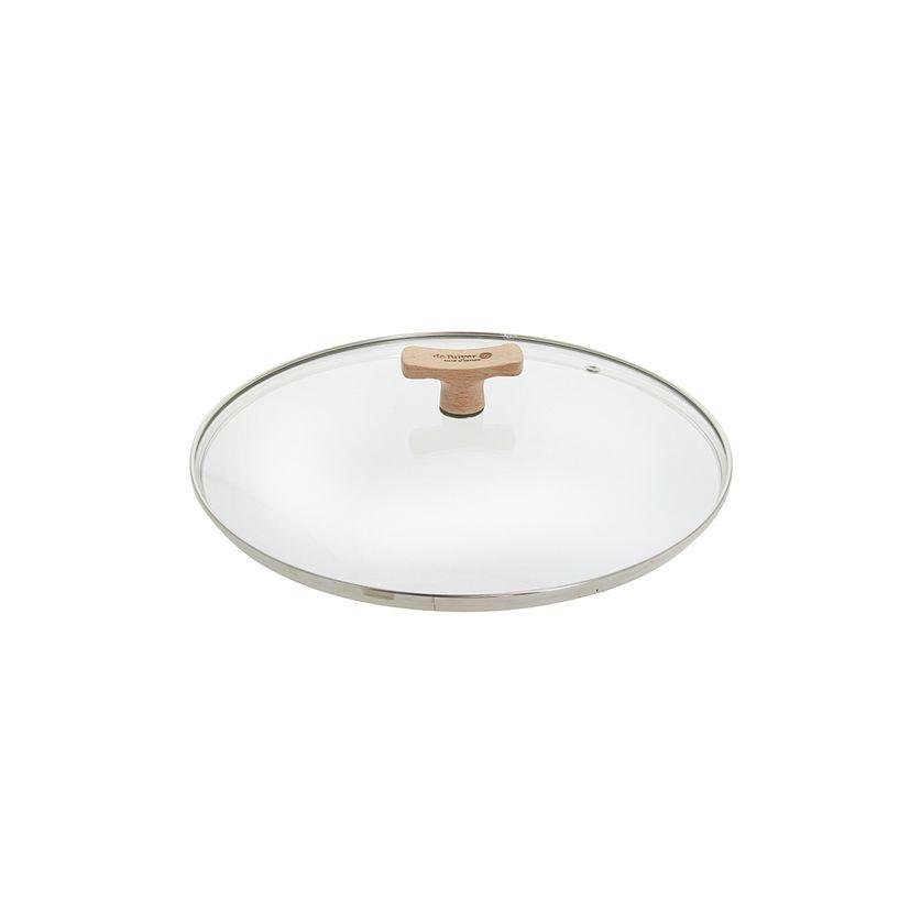 Couvercle en verre avec bouton en bois diamètre 28 cm - De Buyer