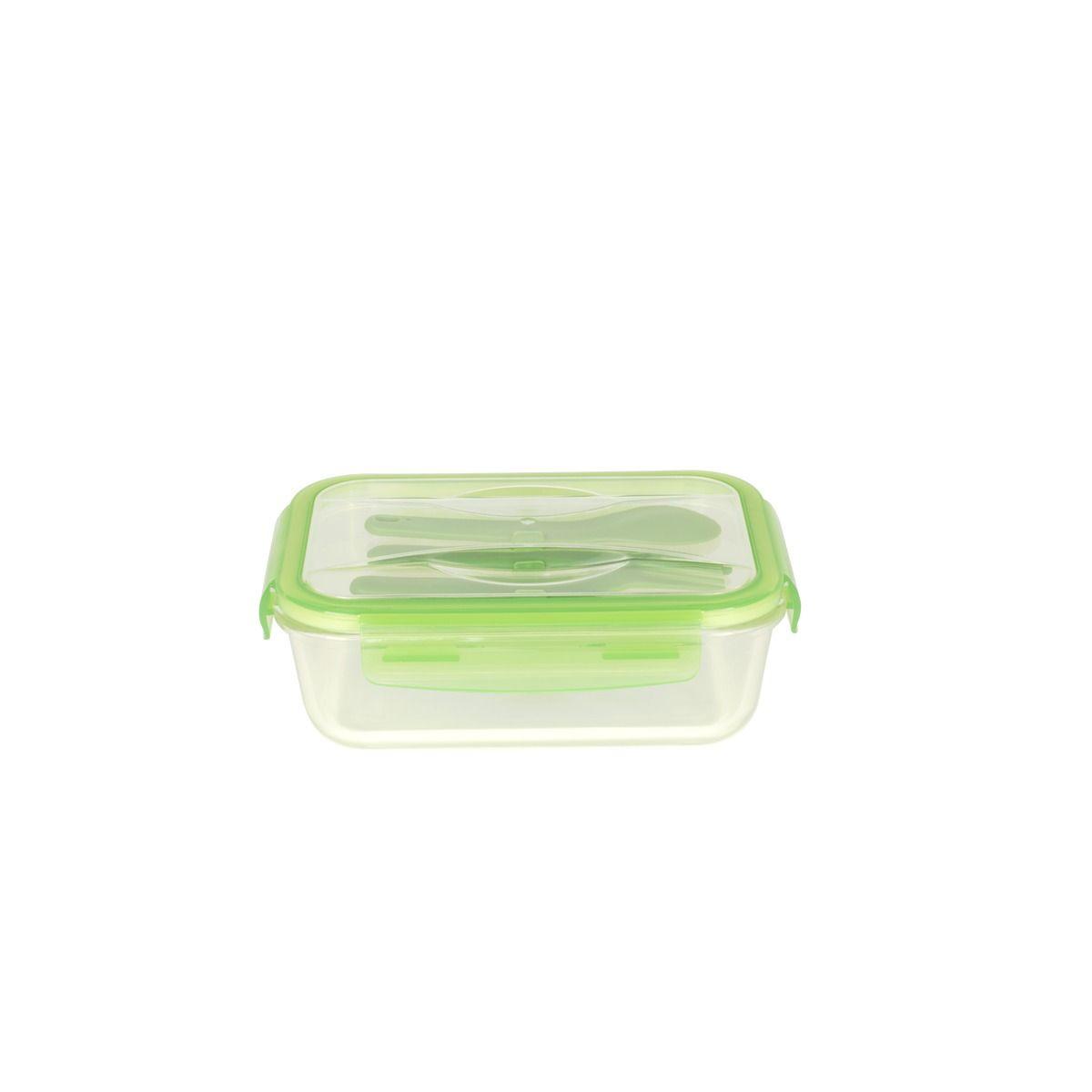 Lunch box nomade en verre 1,2 L avec couverts en plastique - vert sauge - Pebbly