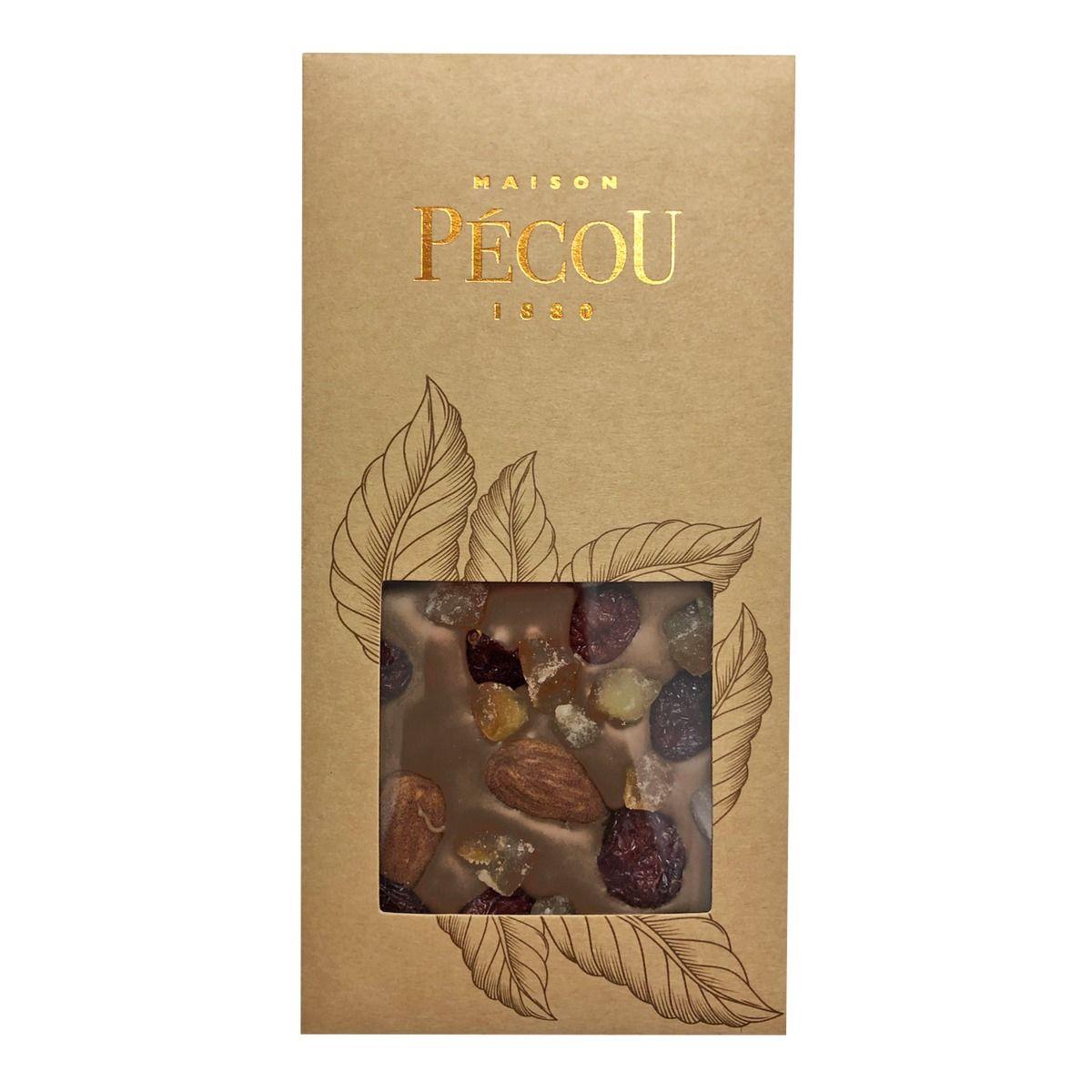 Tablette chocolat noir aux inclusions de cranberries, amandes et d'orange confite - Pecou