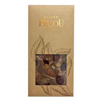 Achat en ligne Tablette chocolat noir aux inclusions de cranberries, amandes et d'orange confite - Pecou