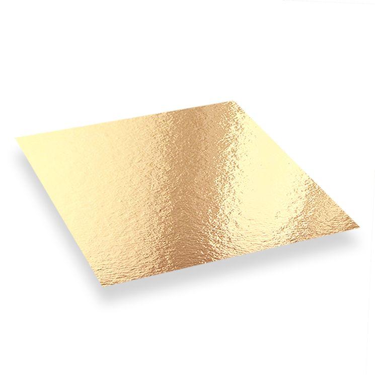 5 supports à gâteaux carrés dorés et noirs 22 x 22 cm - Patisdecor