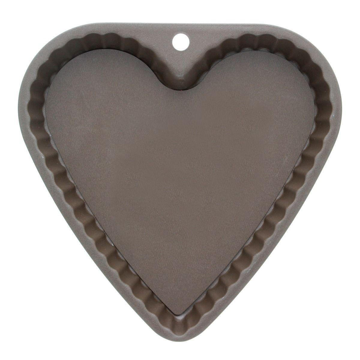 Moule à tarte en coeur en métal anti adhérent avec fond amovible 6/8 parts 23 cm - Alice Délice
