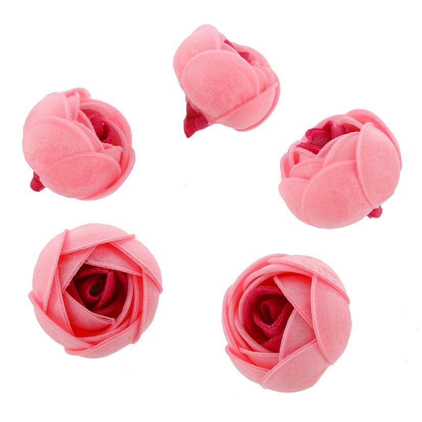 Décor en azyme : 5 fleurs bicolores rose et rose pâle 4.2 cm