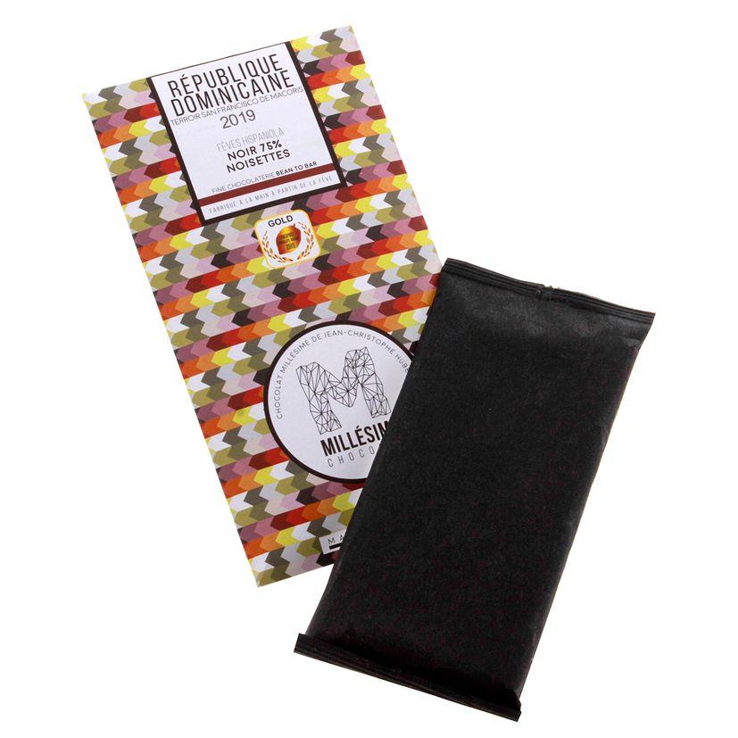 Chocolat République dominicaine Noir 75% noisettes 70g - Millésime
