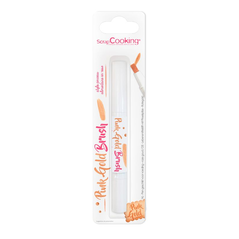 Stylo pinceau décoration alimentaire or rose 2ml - Scrapcooking