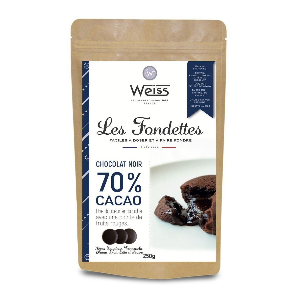 Chocolat noir à pâtisser 70% Les Fondettes 250 gr - Weiss
