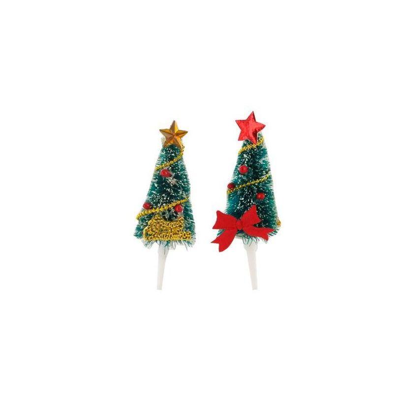 Décor de bûche et gâteau : 2 sapins de Noël rouges et dorés sur piques 2 x 5 cm - Patisdecor
