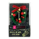 Décor de bûche et gâteau : couronne de Noël rouge sur pique 6 x 8 cm - Patisdecor