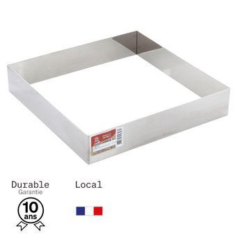 Achat en ligne Cadre à pâtisserie carré en inox 24 cm hauteur 4.5 cm - 10/12 parts  Alice Délice