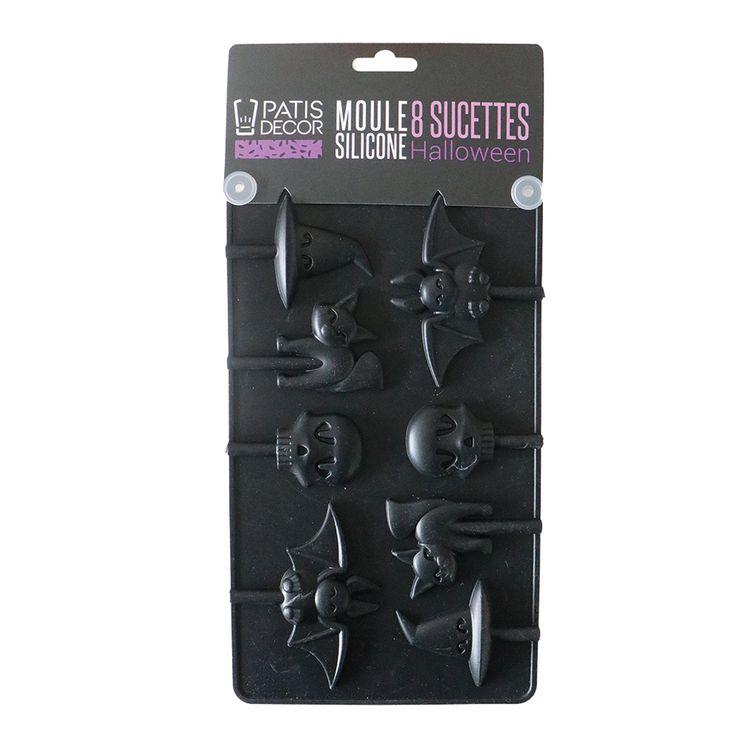 Moule en silicone 8 sucettes et 8 batons Halloween - Patisdecor
