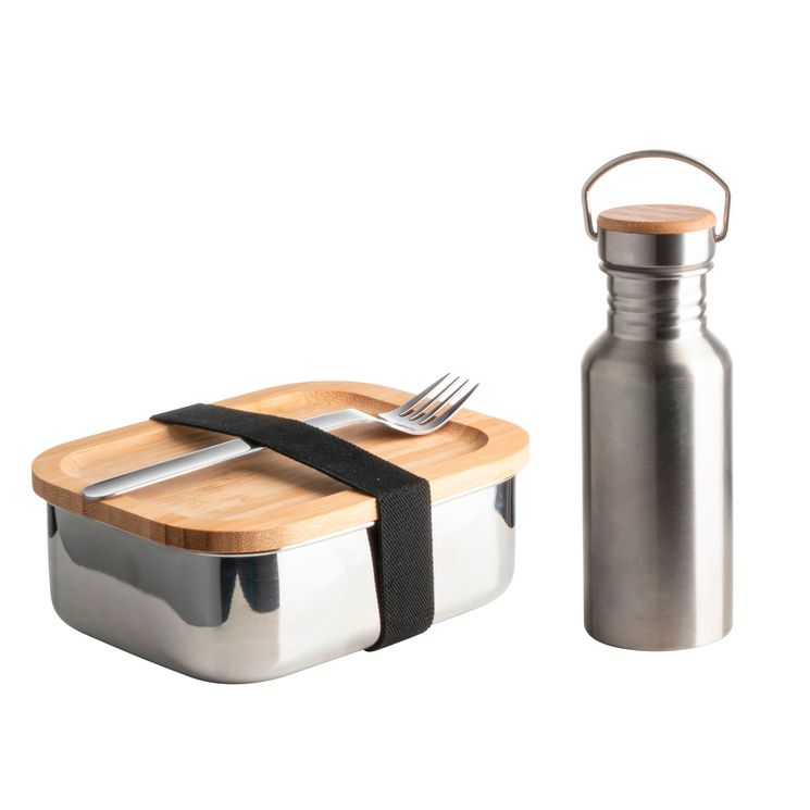 Coffret lunch box verre bambou + bouteille isotherme 500ml - Zodio