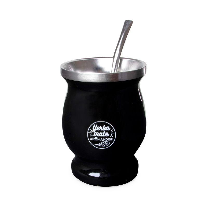Calebasse à maté en inox noir 230ml + paille inox - Aromandise