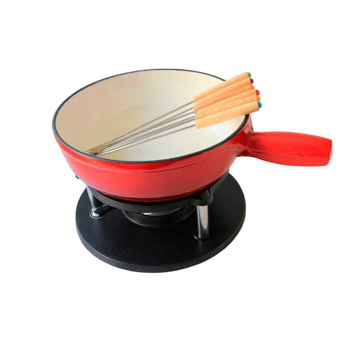 Service à fondue savoyarde rouge 24 cm - Baumalu